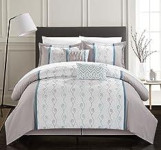 طقم لحاف 6 قطع من Chic Home Brriston مكون من سرير مطرز وملون - تنورة سرير وأغطية مزخرفة وشمس يتضمن King Grey