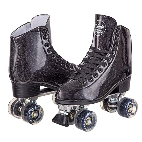 Cal 7 Sparkly Roller Skates for Indoor & Outdoor Skating, Faux Leather Quad Skate with