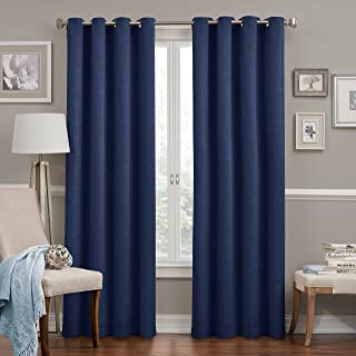 """ECLIPSE 52"""" x 95"""" Insulated Darkening Single Panel Grommet Top Window Treatment Curtains for Bedroom Round Living Room, Navy"""