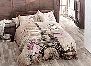 100% Turkish Cotton Paris Eiffel Tower Theme Themed Full Double Queen Size Duvet Cover Set Made in Turkey (print2, King)