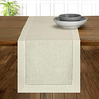 D'Moksha Homes 100% Pure Linen Hemstitch Table Runner - 14 x 60 Inch Pristine Ivory, Natural Fabric European Flax, Machine...