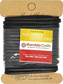 Mandala Crafts Flat Cowhide Genuine Leather String Cord Lace, Rawhide Strip for Jewelry Making, Clothing, Shoelaces, Baseball Gloves, and Saddles (3mm 7.65 Yards, Black)