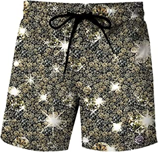 Honeystore Men's Colorful Printed Trunks Swim Beach Board Shorts with Pockets