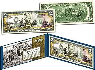 WORLD WAR II * Raising the Flag on IWO JIMA * Colorized U.S. $2 Bill WWII