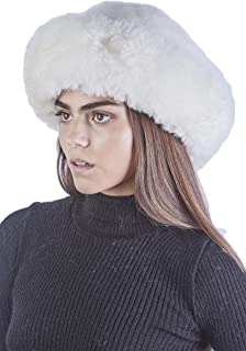 Raymis Womens Winter Hat Knitted 100% Baby Alpaca Real Fur Hat