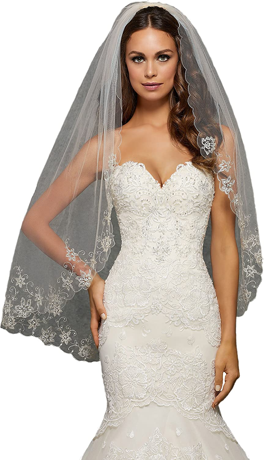 Passat 3 colors SingleTier 36  Fingertip Length Wedding Veil Embroidered with Pearls and Rhinestones VL1043