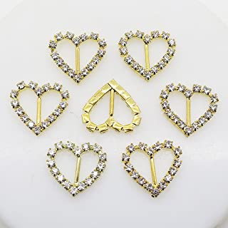 50pcs 20mmx17mm Gold Heart Shape Rhinestone Ribbon Buckles Diamond Buttons for The Bridesmaids Bouquets Doll Shoes and Dresses Christmas Buckles