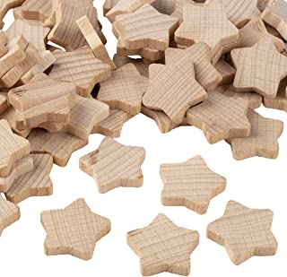 Wooden Stars - 100-Piece Unfinished Wooden Star Cutout Shapes, 0.8 x 0.8 x 0.2 Inch Wood Stars, Star Shaped Wood Pieces for DIY Arts and Crafts