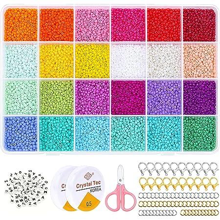 14440pcs Glasperlen und 100pcs Alphabet Buchstabe Perlen, 2mm Mini Perlen Rocailles Perlen mit Elastischen Schnur Schnüre, Schere für Armbänder Schmuck machen und Handwerk