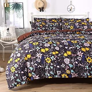 Colorxy Floral Lightweight Duvet Cover 3 Piece Set - Ultra Soft Microfiber Reversible Flora Printed Comforter Cover with Zipper Closure, Corner Ties and 2 Pillow Sham, King (104x90 inches)