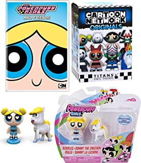 G i r l Trio Powerpuff Girls & Friends DVD Cartoon + Blossom Belle/Buttercup Rebelle/Bubbles Bulle and Donny Unicorn Townsville Power Fun + Mini Figure Network Character Titan blind Box toy Pack