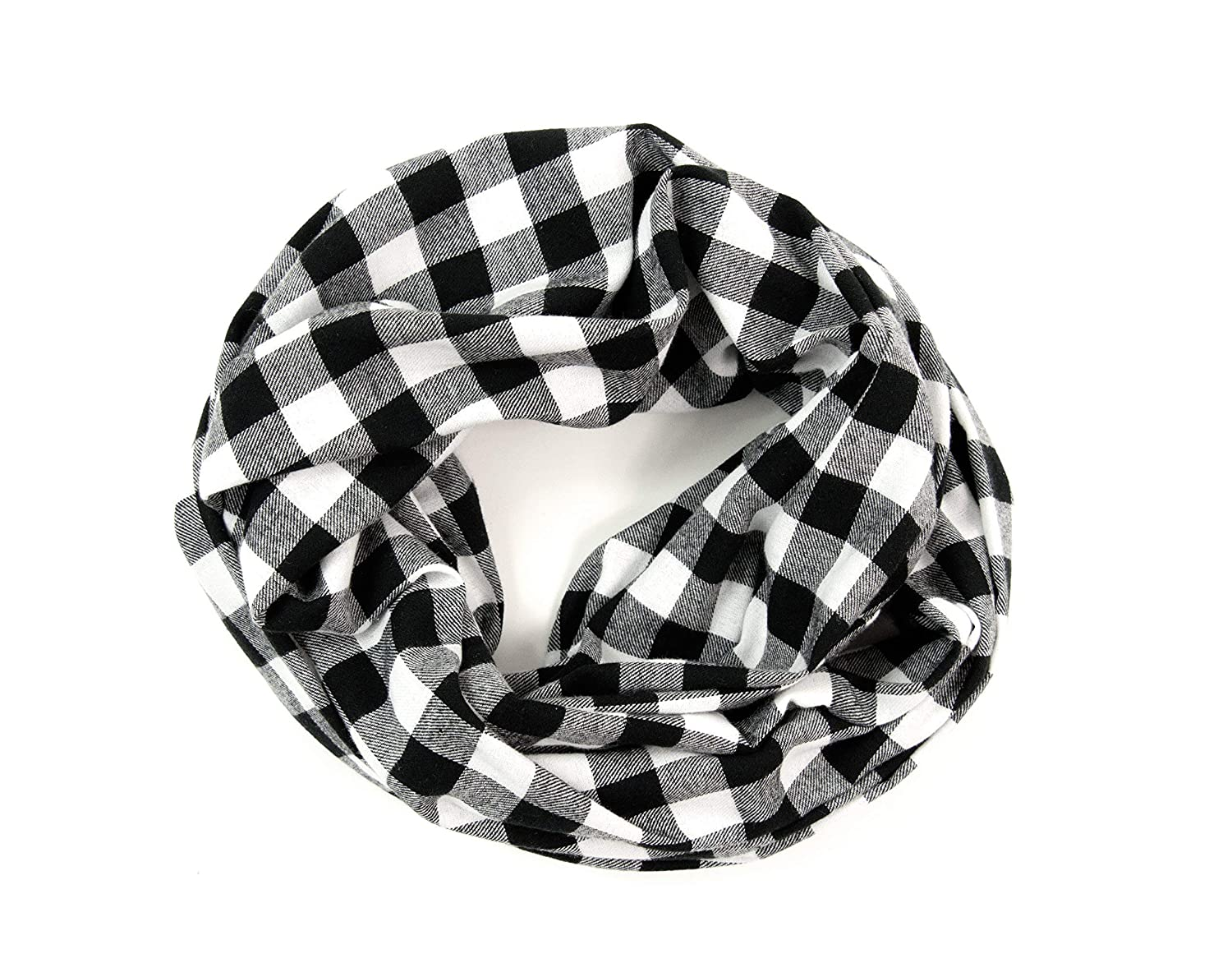 Flannel Buffalo Plaid Time sale Infinity White Max 62% OFF Scarf and Black