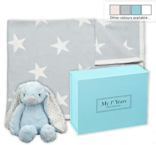 My 1st Years Baby Blue Star Blanket & Bunny Soft Toy Newborn Gift Set