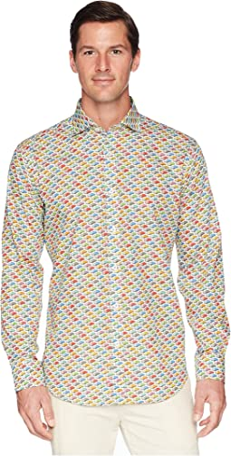 Shaped Fit Long Sleeve Car Print Woven Shirt
