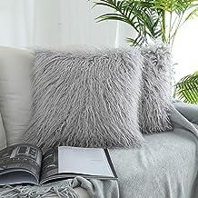 Kevin Textile Deluxe Home Decorative Super Soft Plush Mongolian Faux Fur Throw Pillow Cover Cushion Case (18 x 18 Inch, Li...