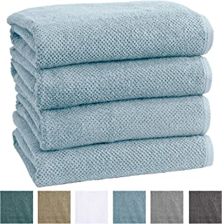 Great Bay Home 4-Pack 100% Cotton, Quick-Dry Textured Bath Towels. Ultra-Absorbant, Popcorn Weave. Acacia Collection. (Bath 4pk, Sterling Blue)