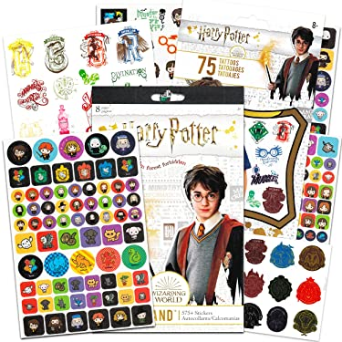 Harry Potter Sticker and Tattoos Party Favors Super Set Bundle ~ 75 Ct Harry Potter Temporary Tattoos and Over 575 Stickers (Harry Potter Party Supplies)
