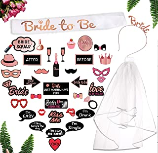 Rose Gold Bachelorette Party Decorations Kit. 40-Pc Pink Bridal Shower Supplies Includes: Bridal Shower Photo Booth Props Bride-to-Be Sash, Tiara, Veil by Scapa Pro