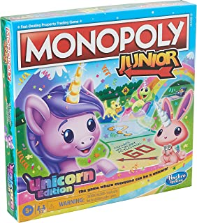 Monopoly Junior: Unicorn Edition Board Game for 2-4 Players, Magical-Themed Indoor Game For Kids Ages 5 and Up