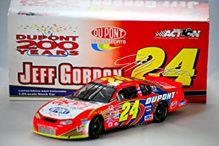2002 - Action - NASCAR - Jeff Gordon #24 - DuPont / 200th Anniversary Celebration - Chevy Monte Carlo - 1:24 Scale Die Cast -Hood Opens Trunk Opens HOTO- Limited Edition - New