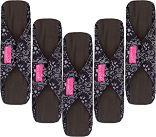 Sanitary Reusable Cloth Menstrual Pads by Heart Felt. XL 5 Pack Washable Natural Organic Napkins with Charcoal Absorbency ...