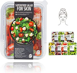 Innerest Superfood Salad Beauty Facial Sheet Mask with Natural Colostrum K-Beauty (Salad A, 7 pcs)