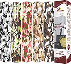 Firefly Craft Camouflage Heat Transfer Vinyl Bundle   Camo Pack HTV Vinyl Bundle   Iron On Vinyl for Cricut and Silhouette   Pack of 5 Rolls - 12