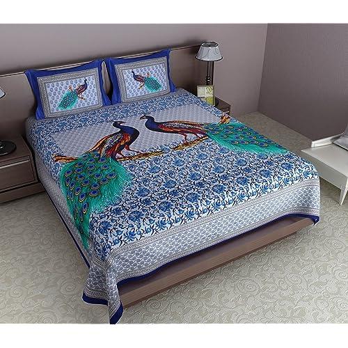 JR Print Oxy Peacock Print King Size Bedsheet 100% Cotton Blue