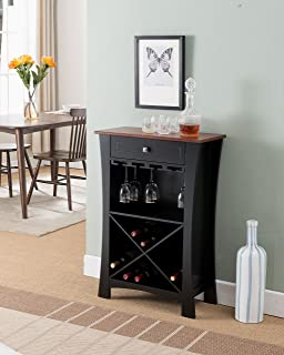 Kings Brand Hiland Bar Cabinet Wine Storage With Glass Holders & Drawer, Black, Black