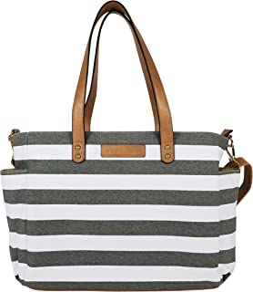 The Aquila (New Edition) Tote Bag by White Elm | Gray, Black or Navy Blue Stripes/Gray or Black Buffalo Check