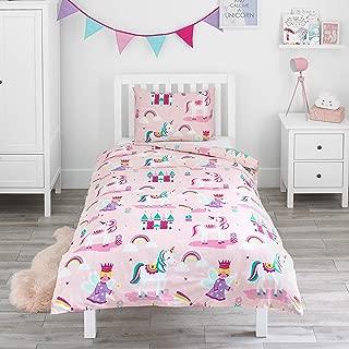 Bloomsbury Mill - Juego de cama para niño - Funda nórdica y funda de almohada 135cm x 200cm - Unicornios, princesas de cuento y castillos encantados