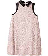 Sleeveless Lace Dress with Contrast Trim (Big Kids)