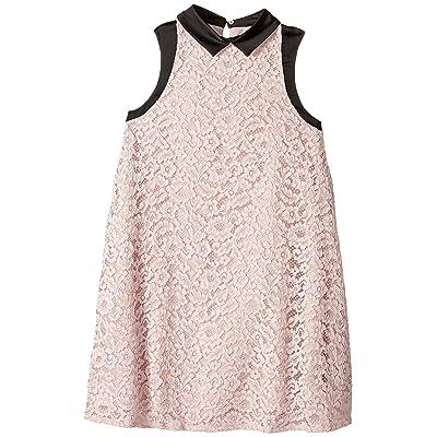 Lanvin Kids Sleeveless Lace Dress with Contrast Trim (Big Kids) (Pink) Girl