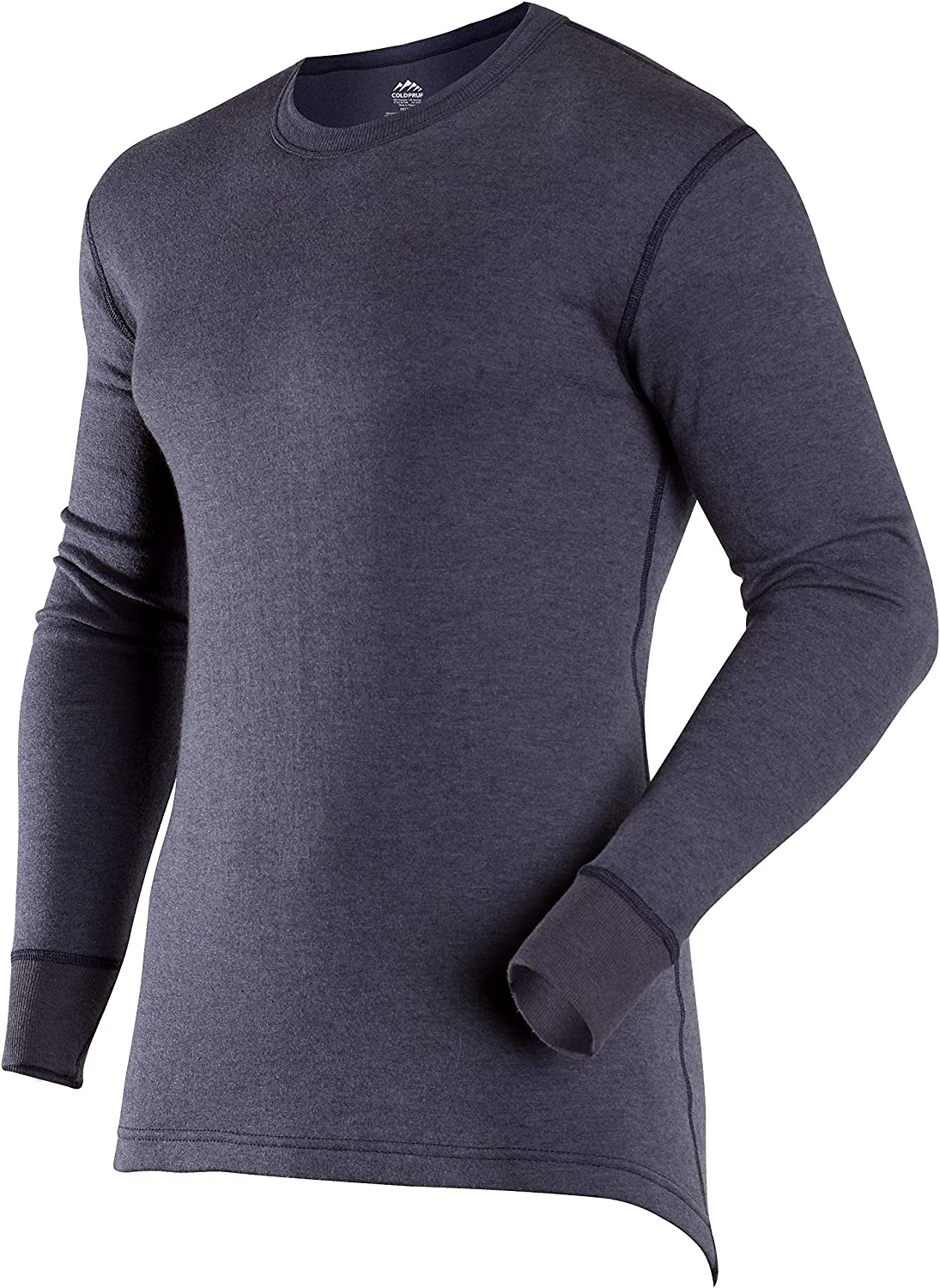 ColdPruf Men's Authentic Dual Layer Long Sleeve Crew Neck Base Layer Top, Navy, Medium Tall