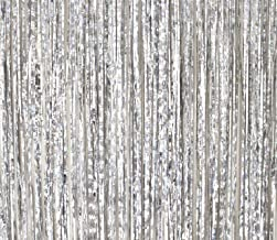 2 Pack - By Haute Soiree - Foil Fringe Curtain Photo Booth Backdrop Party Decoration - 3FT x 8FT (Silver Metallic Sparkle) Perfect for Bachelorette, Birthday and Wedding Parties