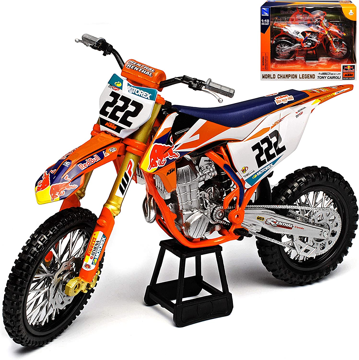 New Ray K T M 450 Sx F Tony Cairoli No 222 Red Bull 2018 Supercross World Cup Enduro 1 10 Model Motorcycle With Individual Number Plate Spielzeug