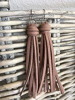 Brown Faux Suede Tassel Earrings