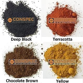 Conspec 8-oz. MIXED COLORS Powdered Color for Concrete, Cement, Mortar, Grout, Plaster BROWN, DEEP BLACK, YELLOW, TERRACOTTA, Colorant, Pigment