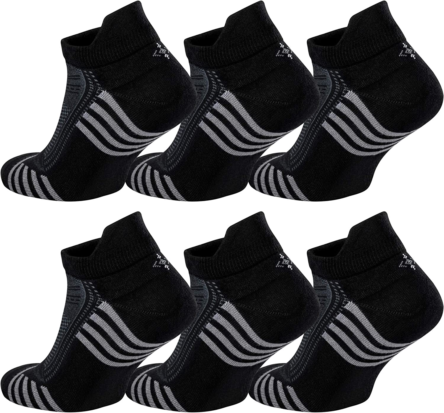 Ankle Socks (6 Pairs) with Heel Tabs Made From Natural Bamboo for Men or Women Sports and Athletic Performance Wear