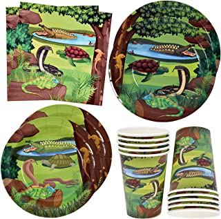 """Reptile Lizard Snake Party Supplies Set 24 9"""" Paper Plates 24 7"""" Plate 24 9 Oz Cups and 50 Lunch Napkins for Camping Wildl..."""