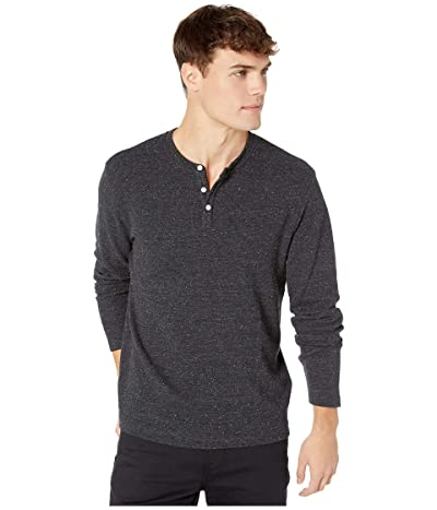 Original Penguin Long Sleeve Nep Waffle Henley (Dark Charcoal Heather) Men