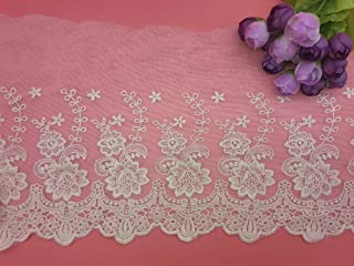 21CM Width Europe Rose Wedding Applique Inelastic Embroidery Lace Trim,Curtain Tablecloth Slipcover Bridal DIY Clothing/Accessories.(2 Yards in one Package) (Ivory)