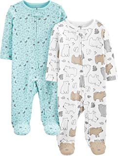 Simple Joys by Carter's Unisex-Baby Neutral 2-Pack Cotton Footed Sleep and Play
