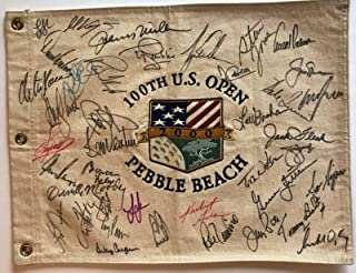 Pebble Beach U.S. open golf signed flag Tiger Woods jack nicklaus 40 champs - PSA/DNA Certified - Autographed Golf Equipment