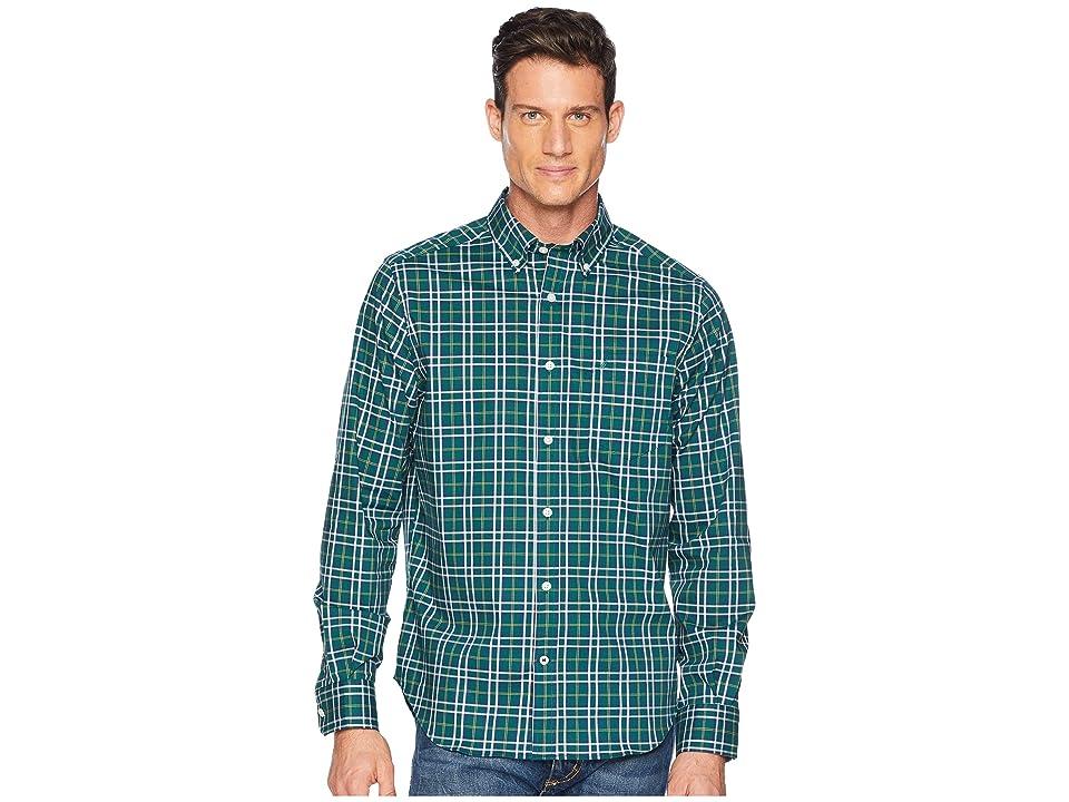 Nautica Long Sleeve Wear to Work Medium Yarn-Dyed Plaid Woven Shirt (Tidal Green) Men
