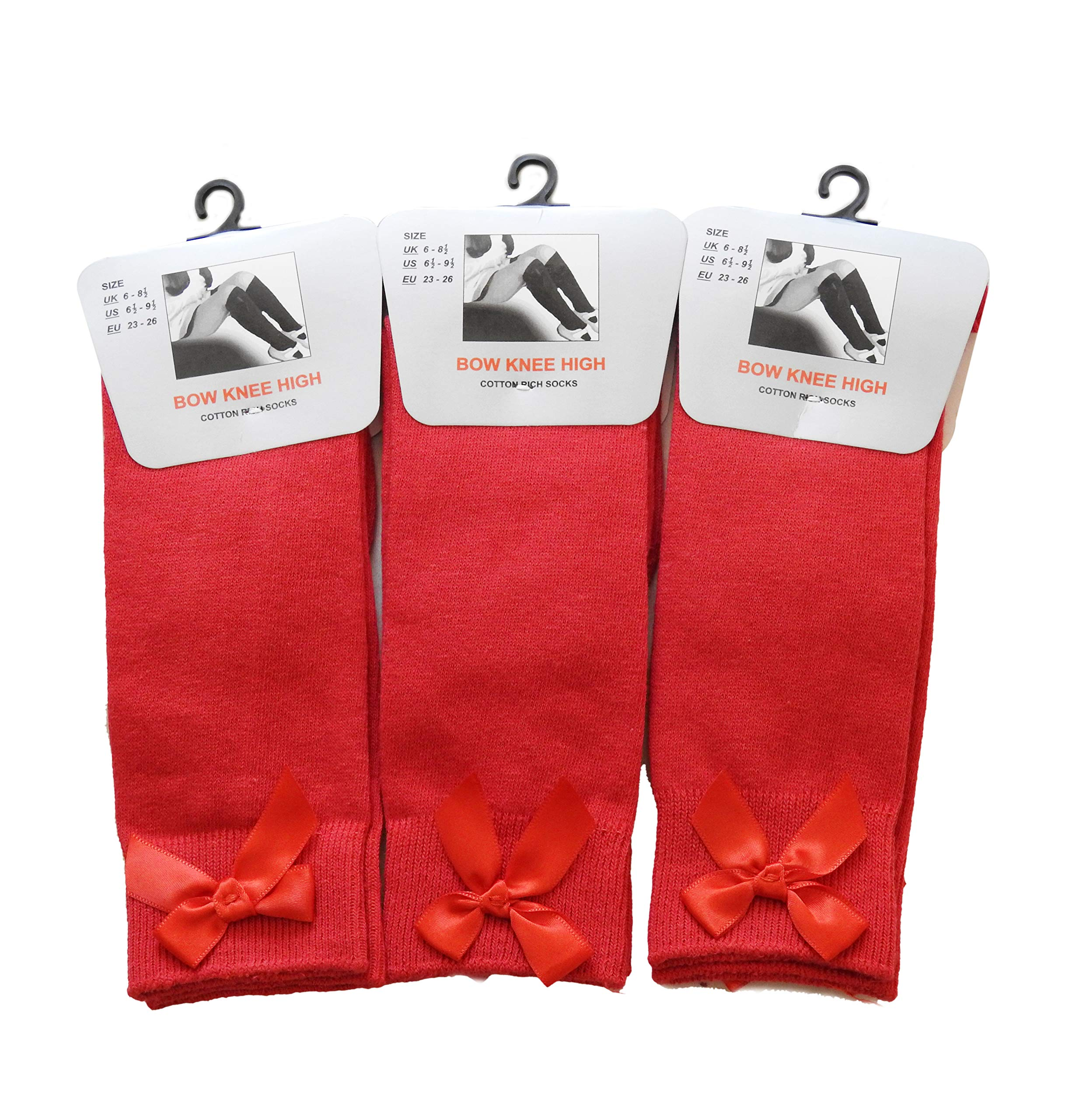 Socks Bow Knee High 3 pairs School Girls /& Kids Plain Long Length Cotton Stretch With all size /& colour Set of 3 pairs