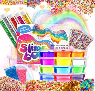 Slime Kit Supplies Fluffy DIY 12 Clear Colors 250 Fruit Slices Girls Toys Fishbowl Unicorn Glitter Pack Foam Beads Balls for Kids