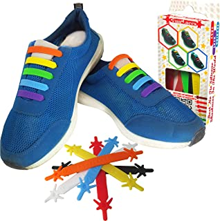 FunFitness Silicone Shoelaces - Elastic No Tie Laces, Easy Pull & Lock - Special for Toddler Kid Adult & Seniors - Waterproof & Super Easy to Clean