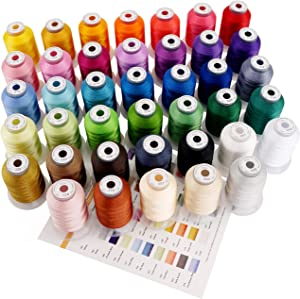 New brothreads 40 Brother Colors Polyester Machine Embroidery Thread Kit 500M Each for Home-Based Embroidery and Sewing Machine