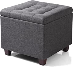 WOLTU SH18dgr Cube Pouffe with Storage Compartment, Storage Box, Removable Lid, Linen Padded Seat, 45 x 45 x 41 cm, Dark Grey